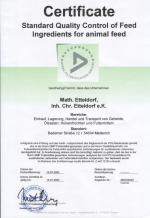 Zertifikat: Standard Quality Control for Animal Feed